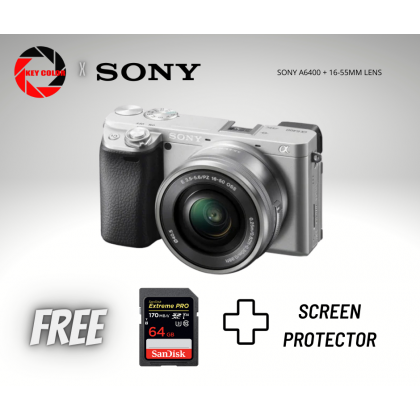 Sony A6400 Mirrorless Camera with E PZ 16-55mm Lens + Sandisk Extreme Pro 64GB 4K Highspeed + Screen Protector (Sony Malaysia 15 Warranty)
